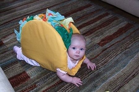 baby in a taco costume